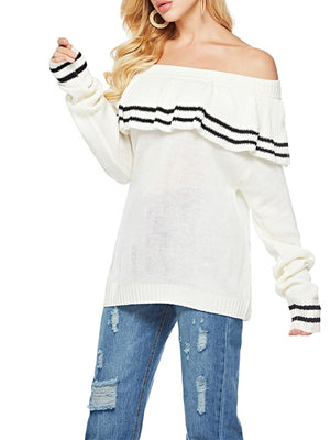 Stripe Flounce Off Shoulder Long Sleeve Knit Sweater
