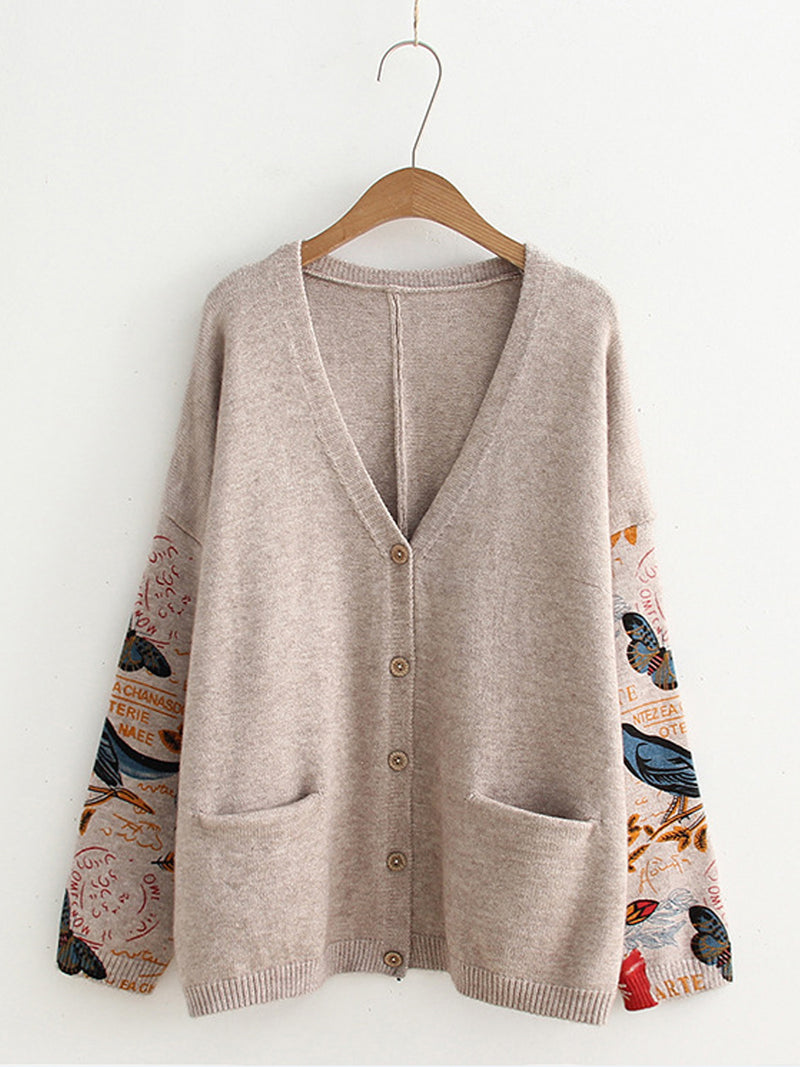 Floral Print V-neck Loose Buttons Knit Cardigan