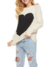 Big Heart Pattern Round Collar Sweater Top