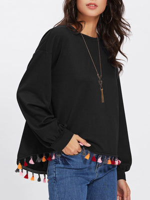 Women Solid Color Long Sleeve Broom Colorful Fringed Shirt