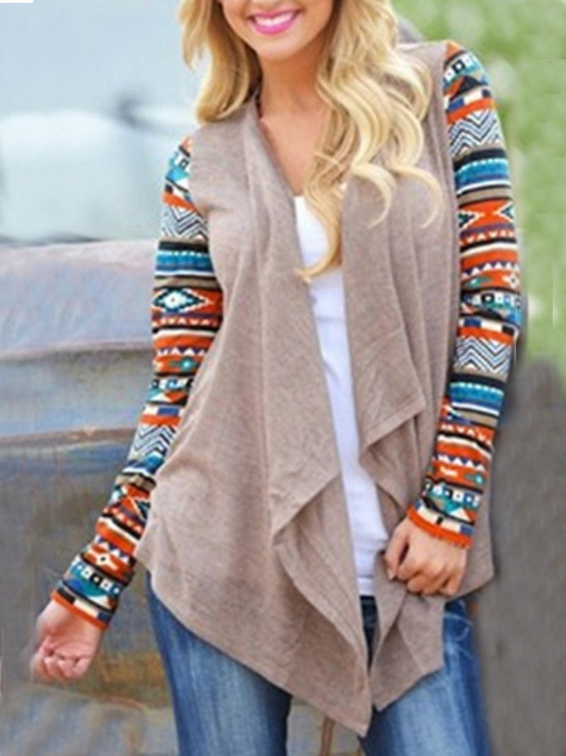 Plus Size Gray Knitted Casual Outerwear