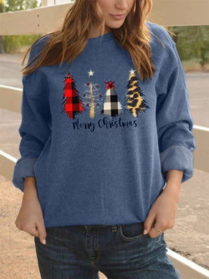 Christmas Casual Crew Neck Shift Shirts & Tops