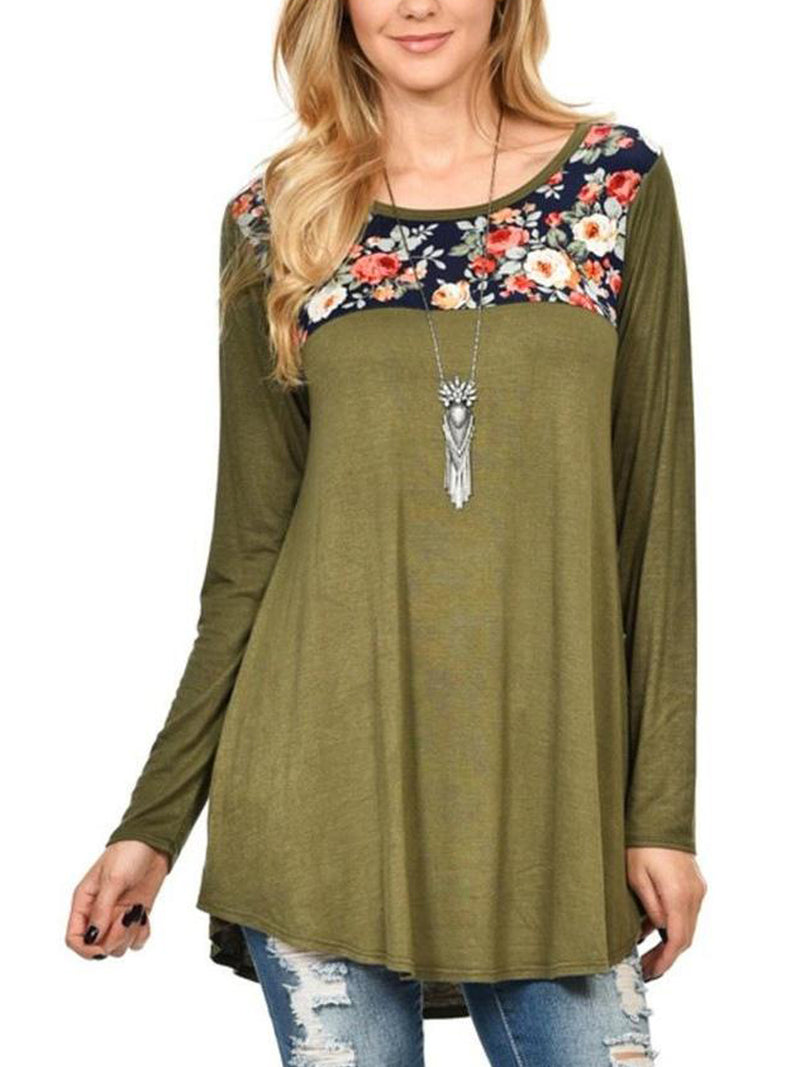 Plus Size Round Neck Print Mid-length Long-sleeved T-shirt