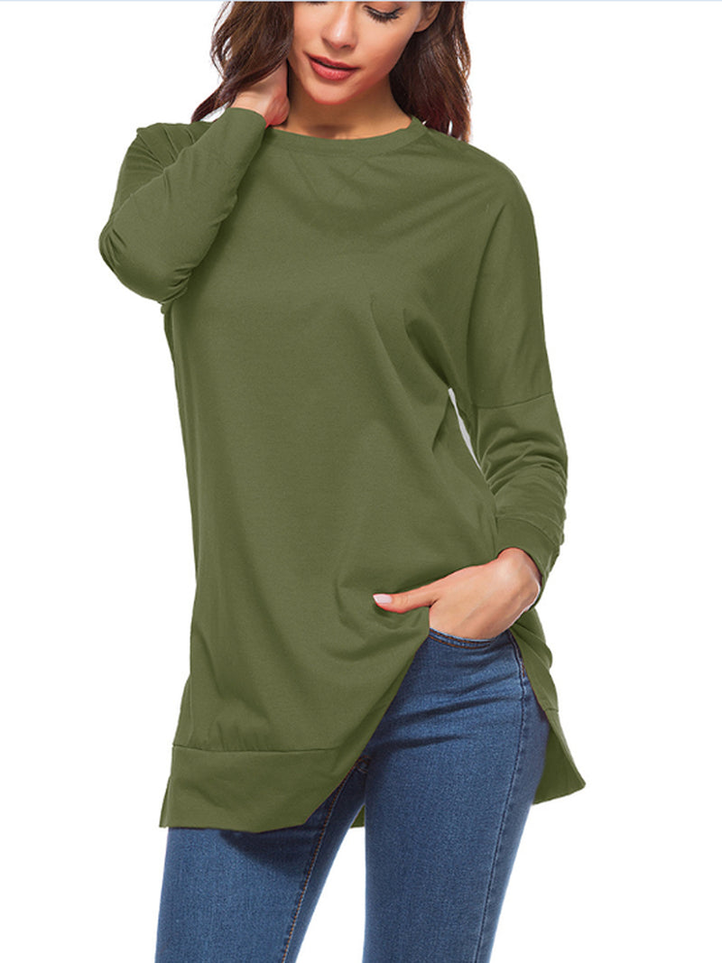 Long Sleeve Round Neck Split Bottom Shirt