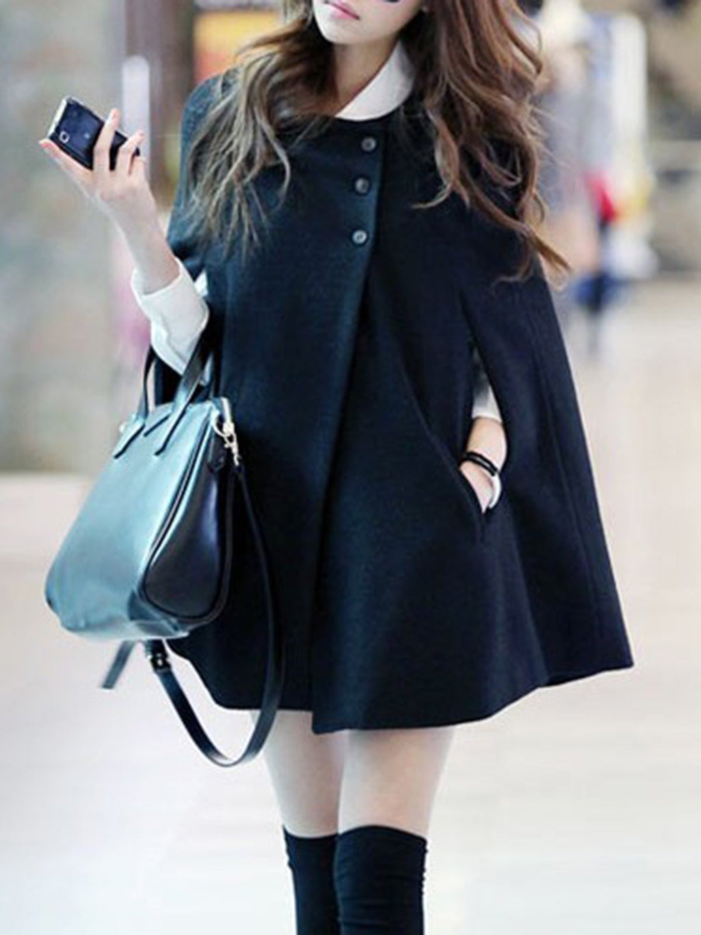 Black Round Neck Coat With Batwing Sleeves