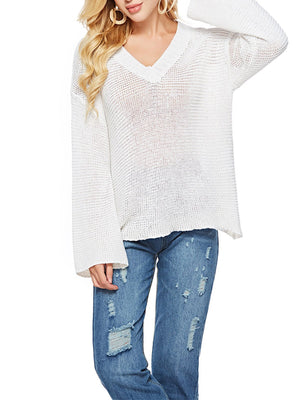 Solid V Collar Hollow Loose Sweater