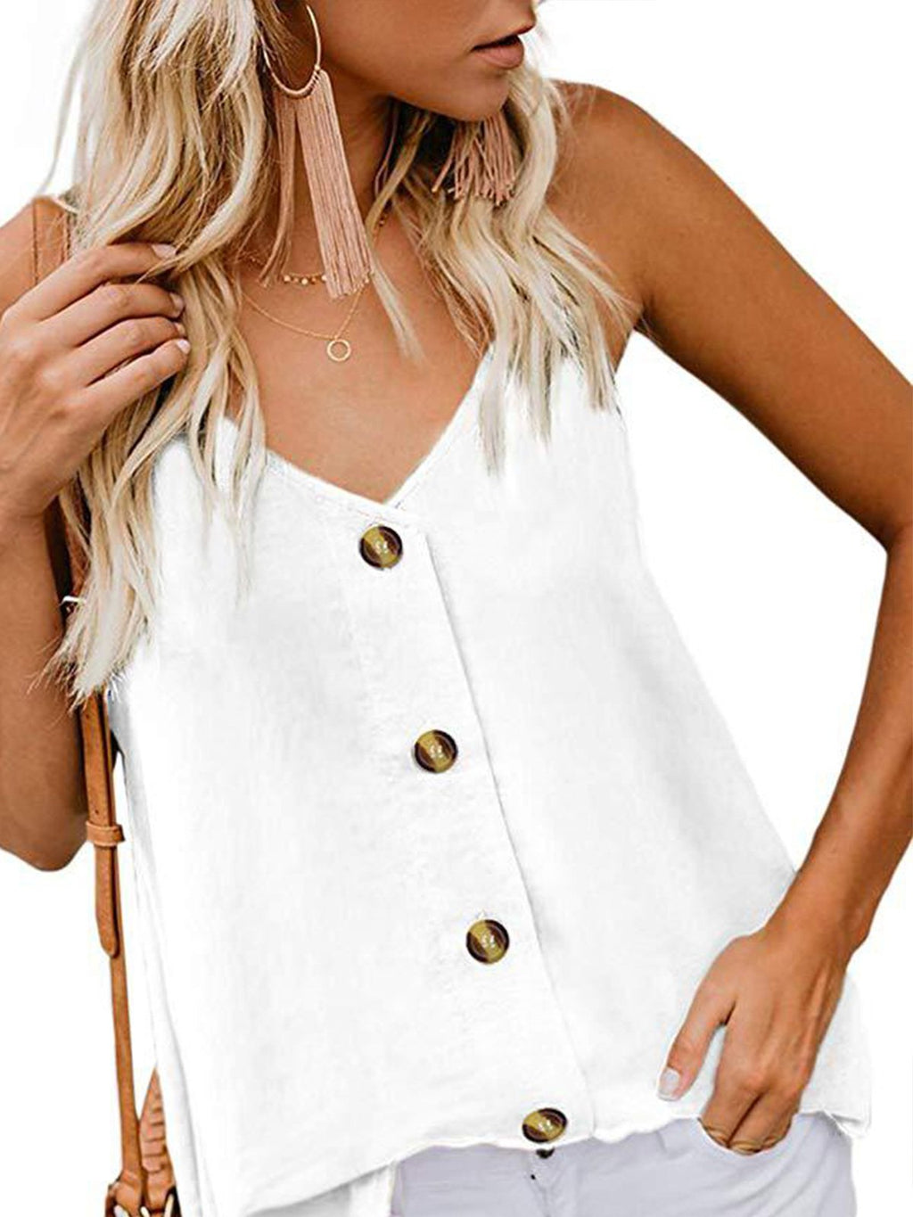 Solid V Neck Spaghetti Strap Buttons Tank Top
