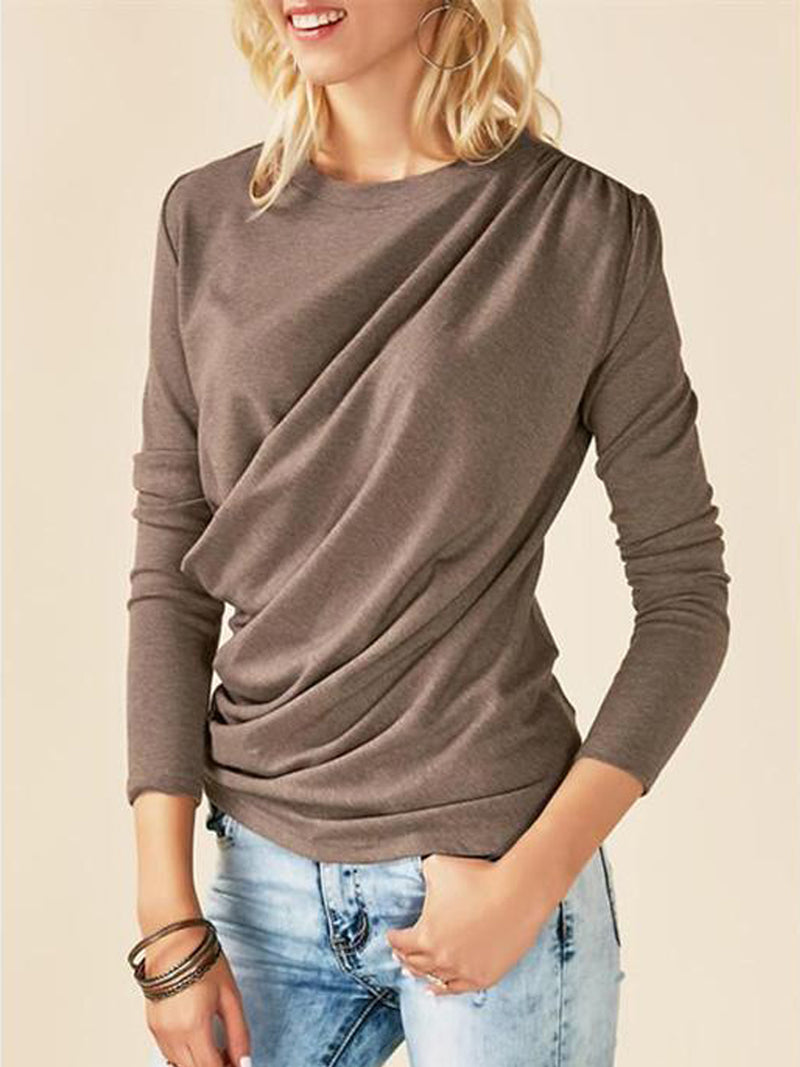 Thickened Pleated Irregular Round Neck Long-sleeved T-shirt