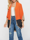 Color Block Sweater Knit Women Cardigan Coat