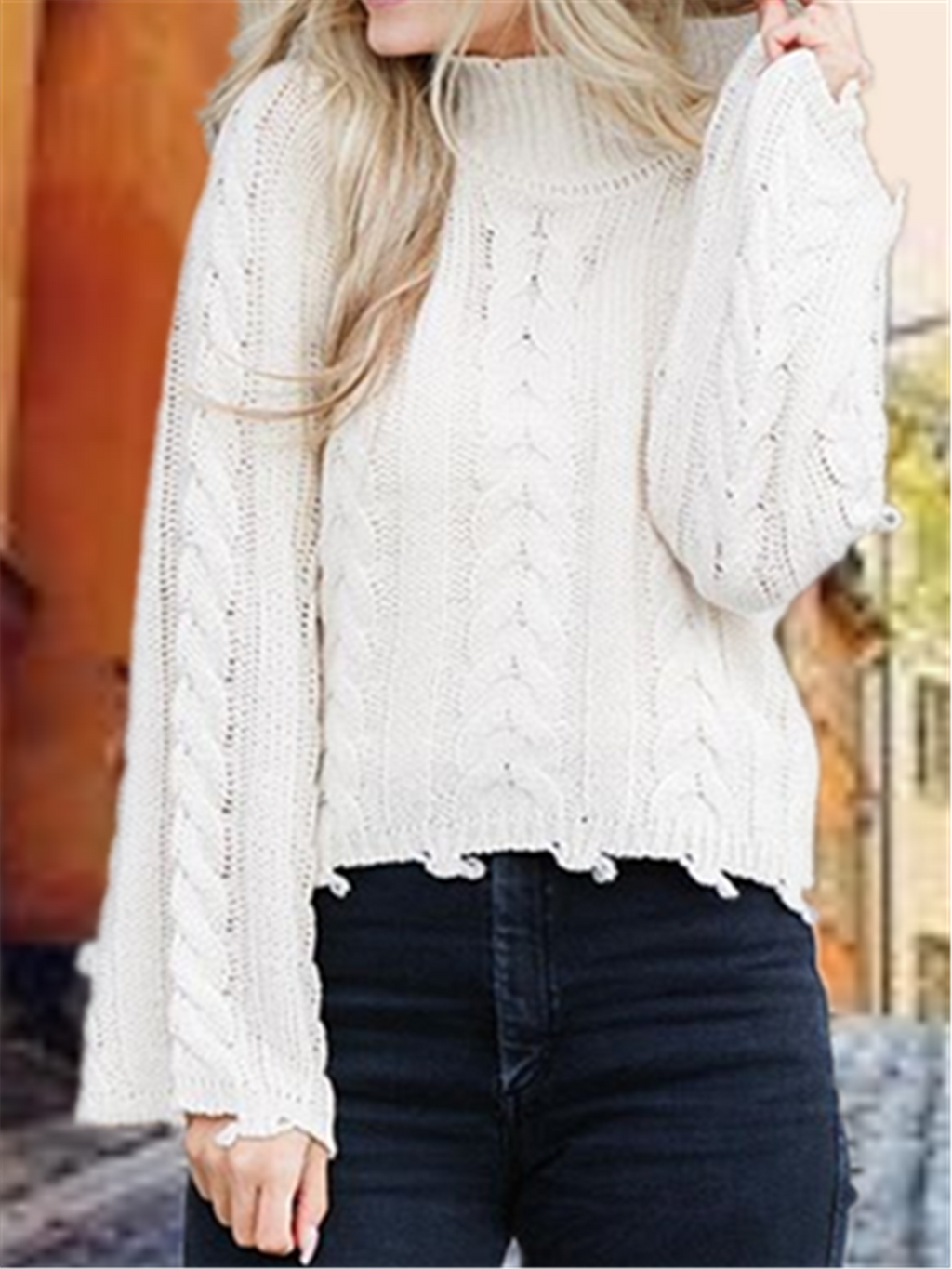 Autumn Winter Casual Basic Daily Crew Neck Knitted Sweater