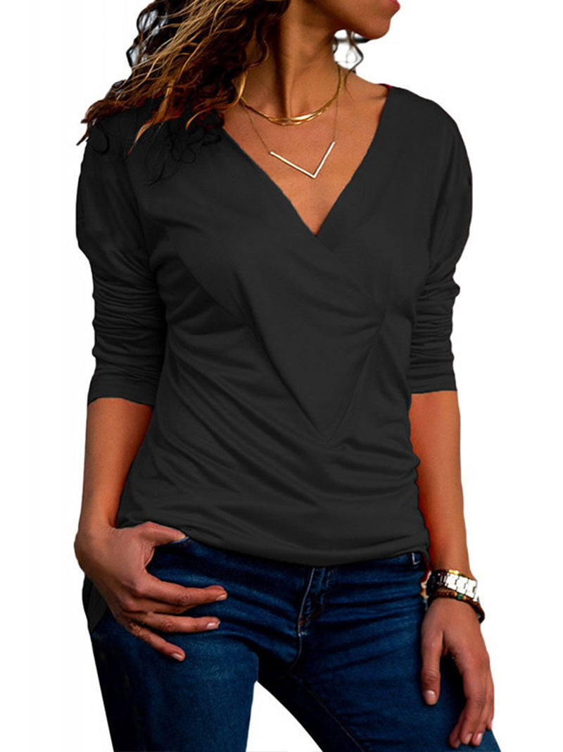 V-neck Long-sleeved Pleated T-shirt