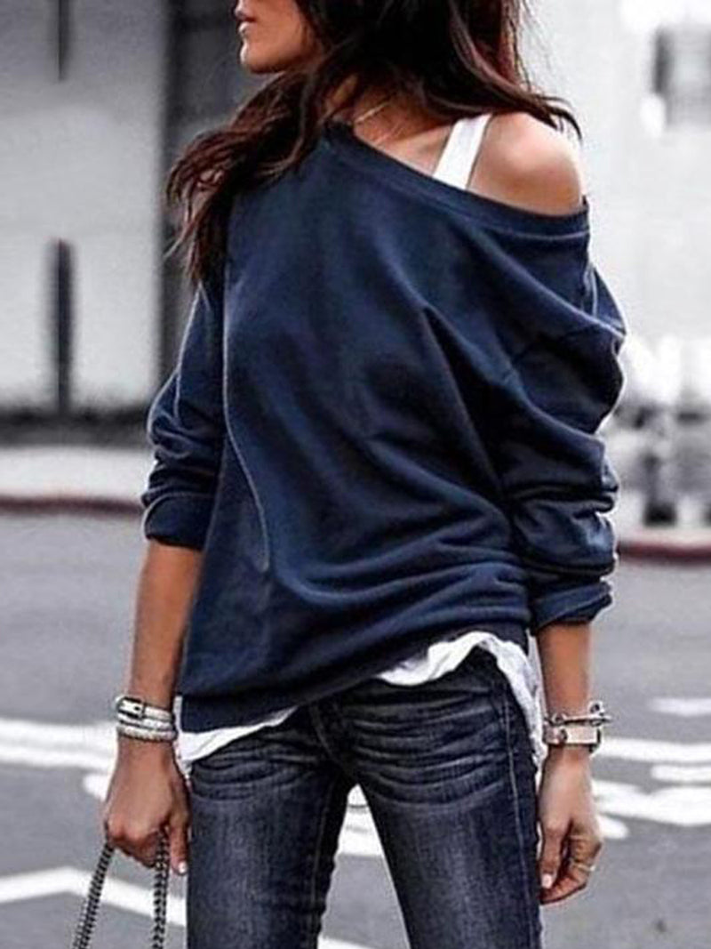 Solid Color Round Neck Off-shoulder Shirts