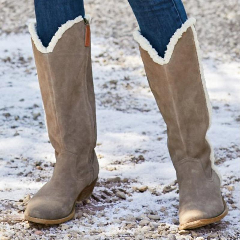 Fleece Collars Solid Riding Boots