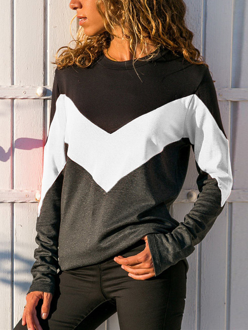 Casual Round Neck Geometric Long Sleeve Shirt