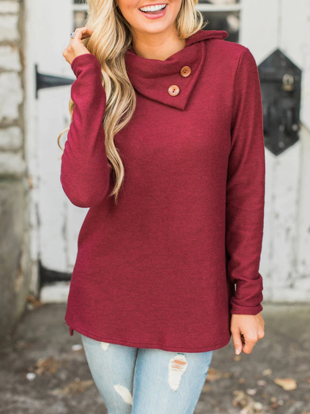 Casual Long-sleeved Diagonal Collar Solid Color Shirt