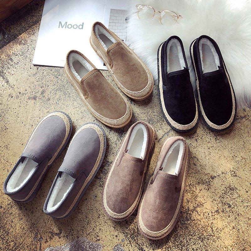 Women Plus Size Slip On Loafers Snow Booties Casual Shoes