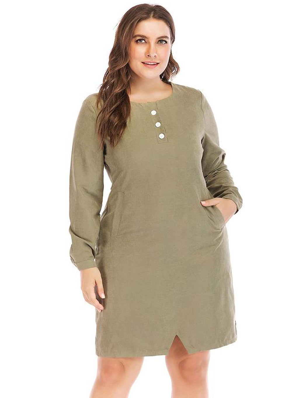 Solid Long Sleeve Small Cut Design Hem Casual Straight Dress