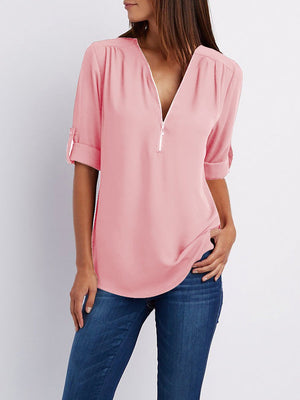 Chiffon Half Sleeve Zipper Solid V neck High Low Blouse