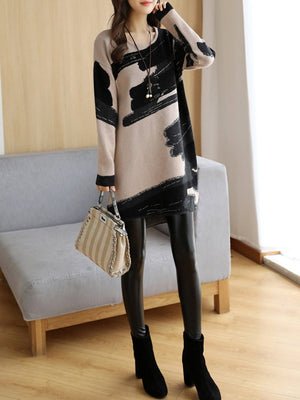 Plus Size Women Casual Knitted Slit Abstract High Low Sweater Dress