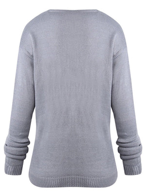Gray H-line Surplice Neck Casual Knitted Sweater