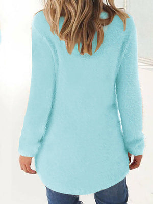 Casual Paneled Crew Neck Knitted Winter Long Sleeve Sweater