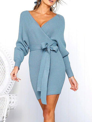 Surplice Neck Women Bodycon Long Sleeve Casual Paneled Solid Dress