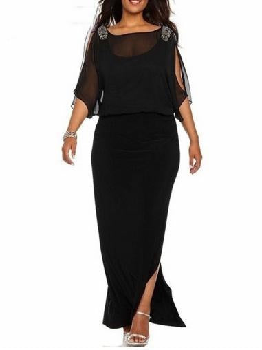 Plus Size Sheath Chiffon Elegant Solid Slit Maxi Dress