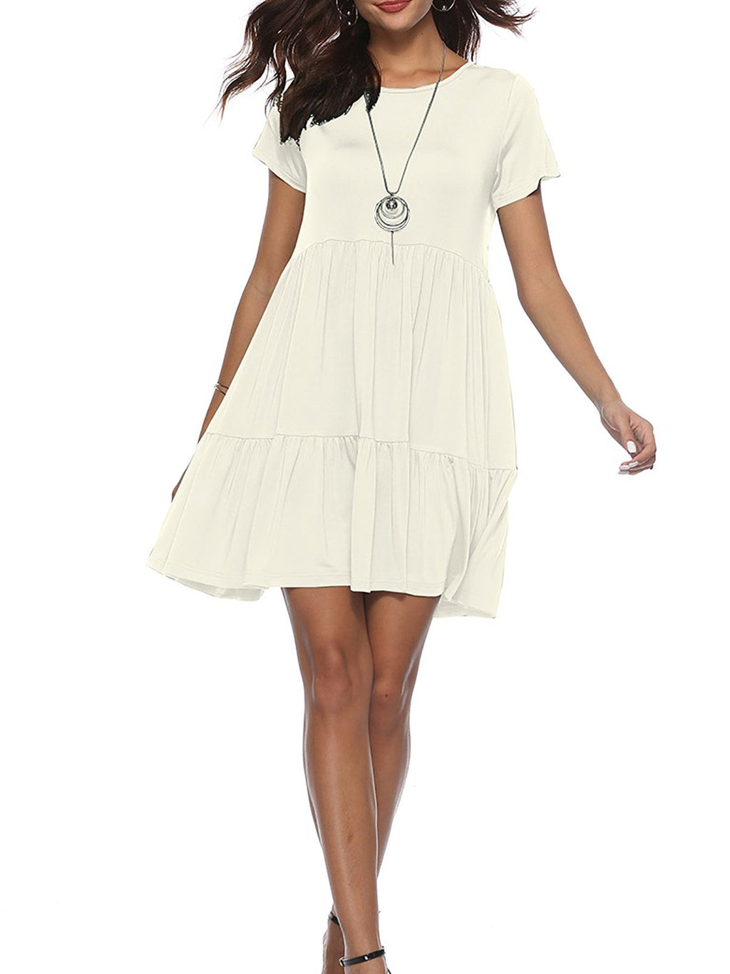 Summer Ruffle Loose Swing Casual T Shirt Dress