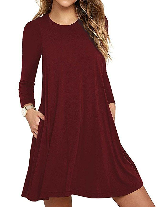 Solid Basic Casual Mini Dress