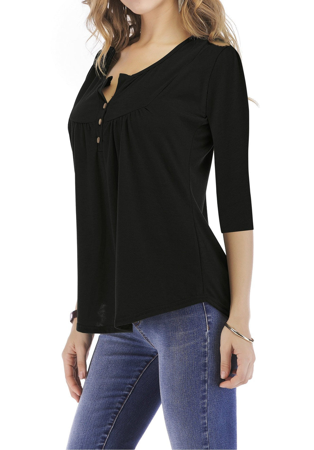 Solid Gathering Chest Yoke 3/4 Sleeve T-shirt