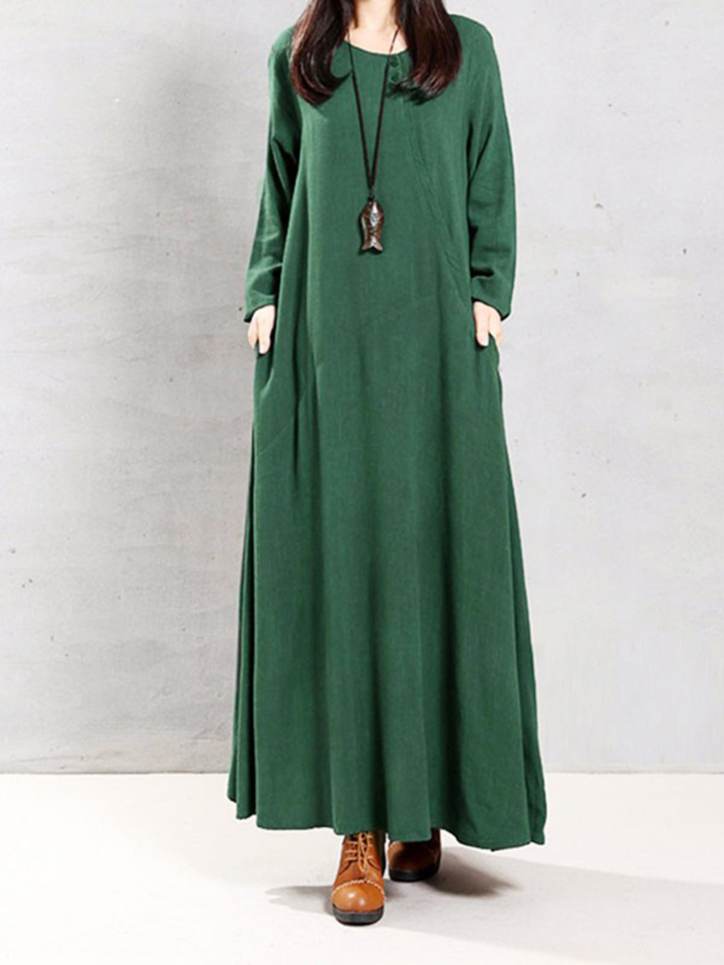 Solid Swing Two Tiny Button Neck Plus Size Maxi Dress