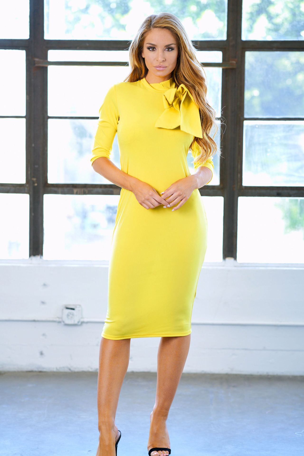 df37b2799c Yellow Bow Aside Neck Fit Midi Dress – RossKiss
