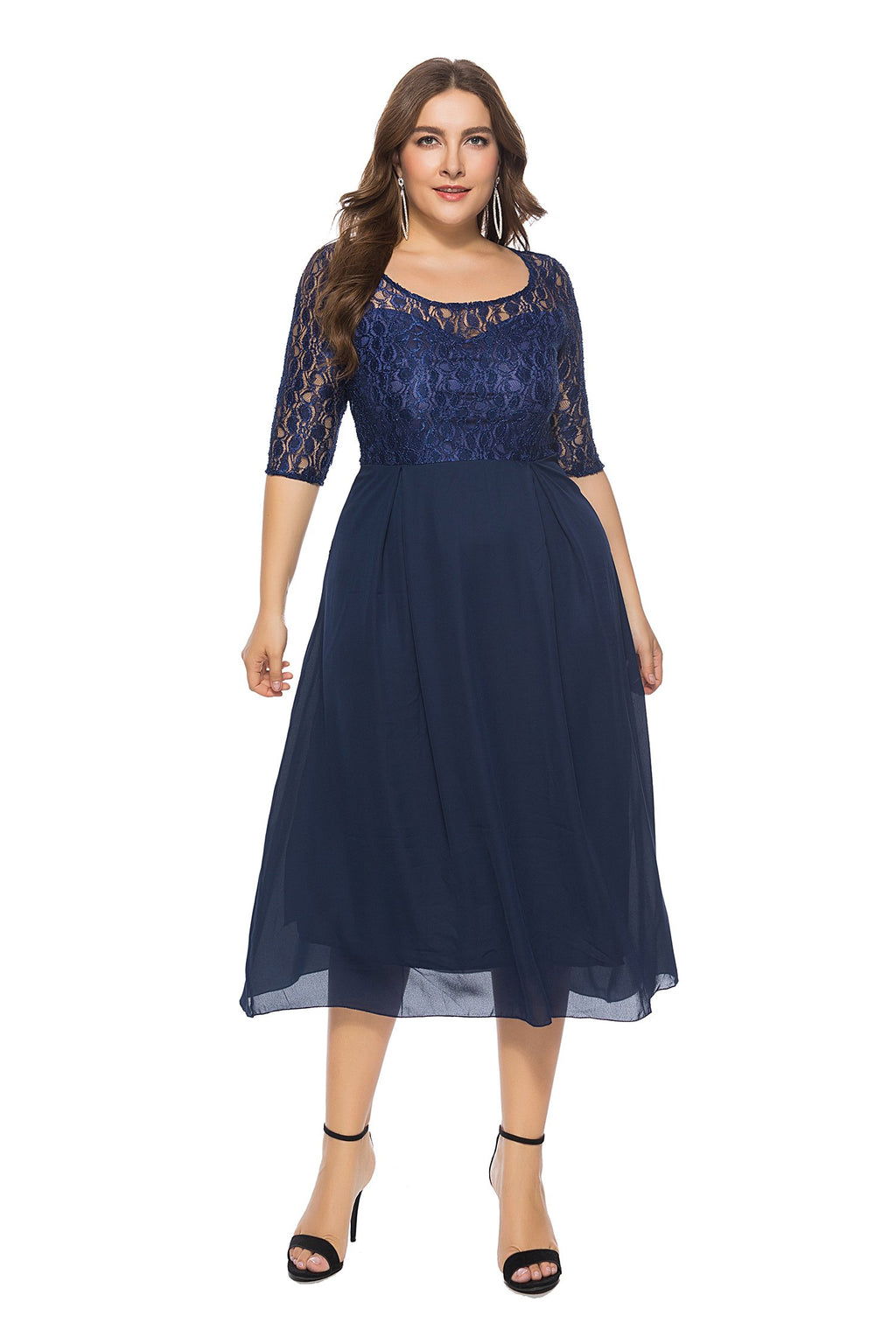 Royal Blue See-through Lace Hollow Top Elegant Midi Dress