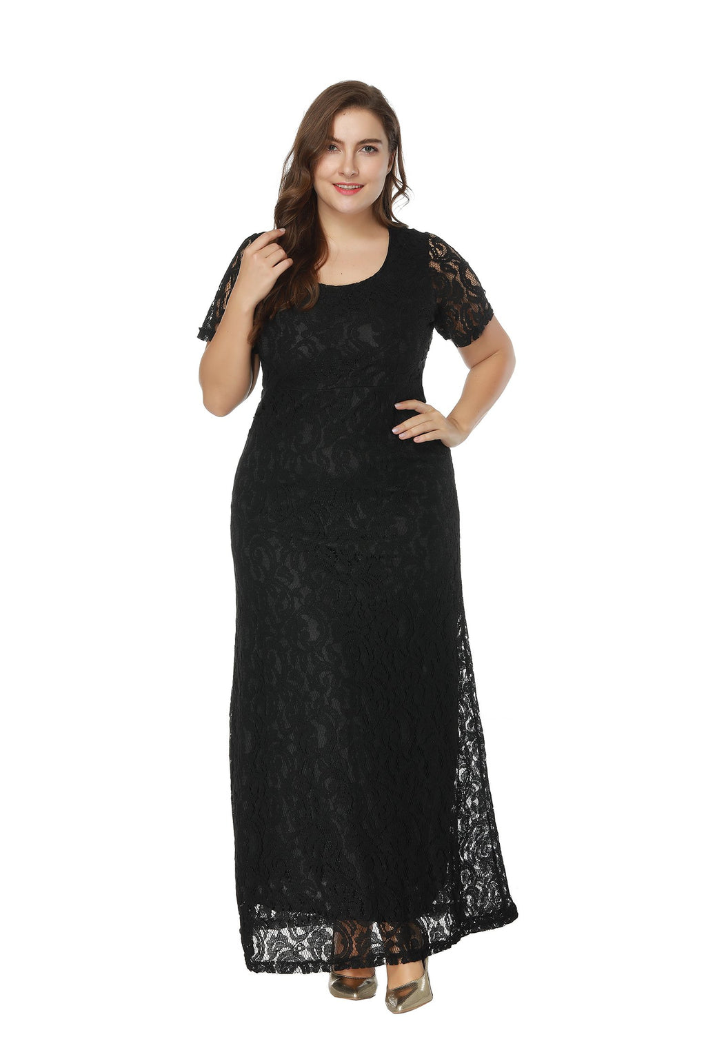 Lace Open Back Invisible Zip Back Plus Size Prom Maxi Dress