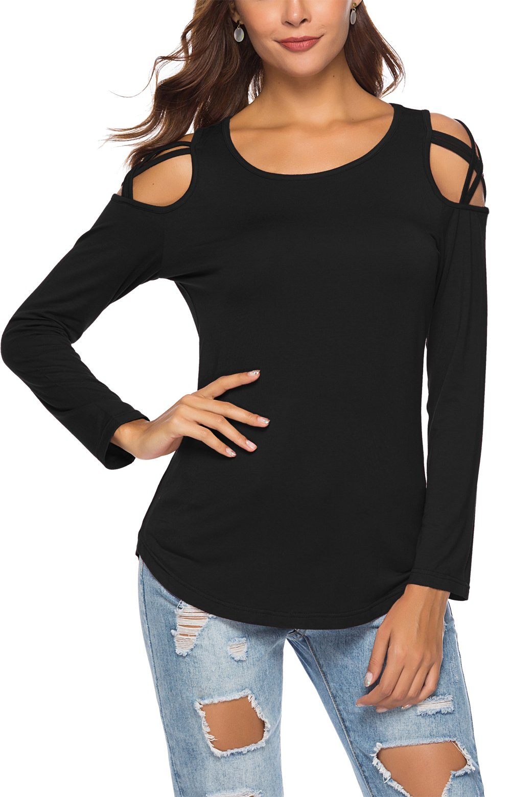 Womens Strappy Cold Shoulder Long Sleeve Tunic Tops Casual Loose Basic T Shirts