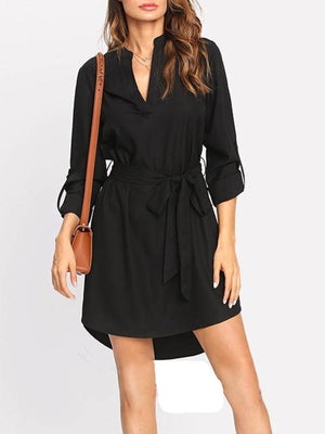 Lace-Up Polyester Elegant Women's Casual Dress