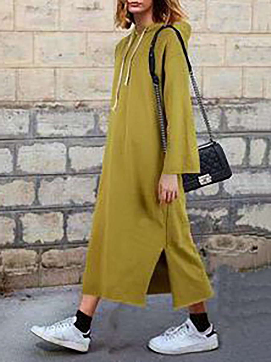 Hoodie Shift Women Daily Basic Cotton Paneled Solid Casual Dress