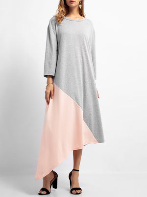 Gray A-line Women Daily Cotton Long Sleeve Paneled Solid Casual Dress