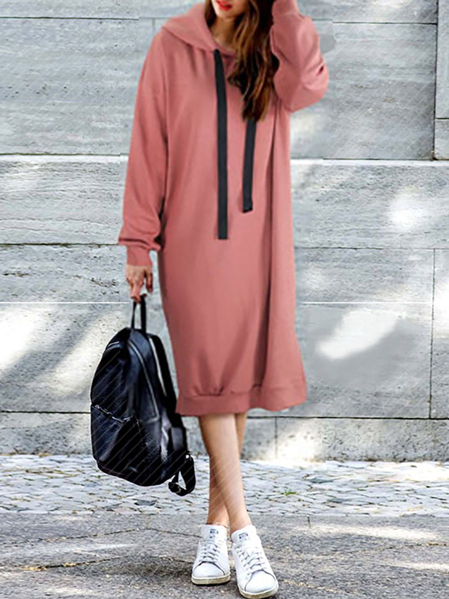 Hoodie Rust Shift Women Daily Long Sleeve Basic Paneled Solid Casual Dress