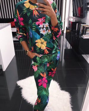 Floral Printed Round Neck Fashion Casual Suit