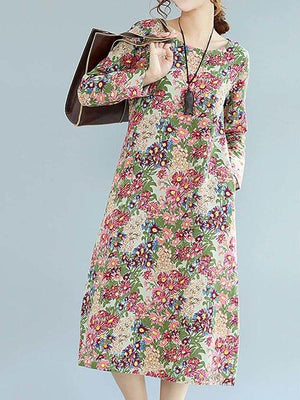 A-line Women Daily Elegant Cotton Paneled Floral Casual Dress