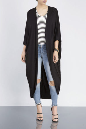Batwing Long Sleeves Solid Casual Wind Coat