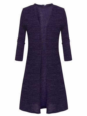 Womens Casual Cashmere Solid Open Coat