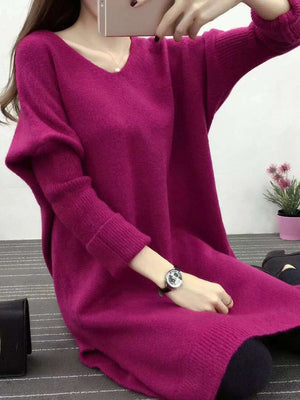 V-Neck Women Sheath Casual Long Sleeve Knitted Solid Plus Size Dress