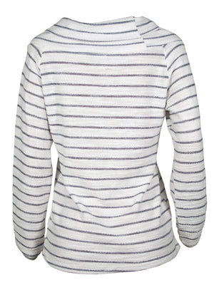 White Off Shoulder Long Sleeve Winter Striped Sweater