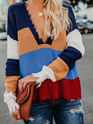 Ripped Edge Color Block V Neck Sweater Top