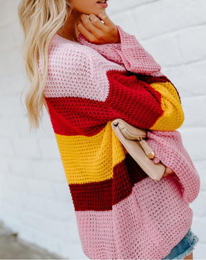 Casual Loose Bell Sleeve Rainbow Stripe Sweater Top