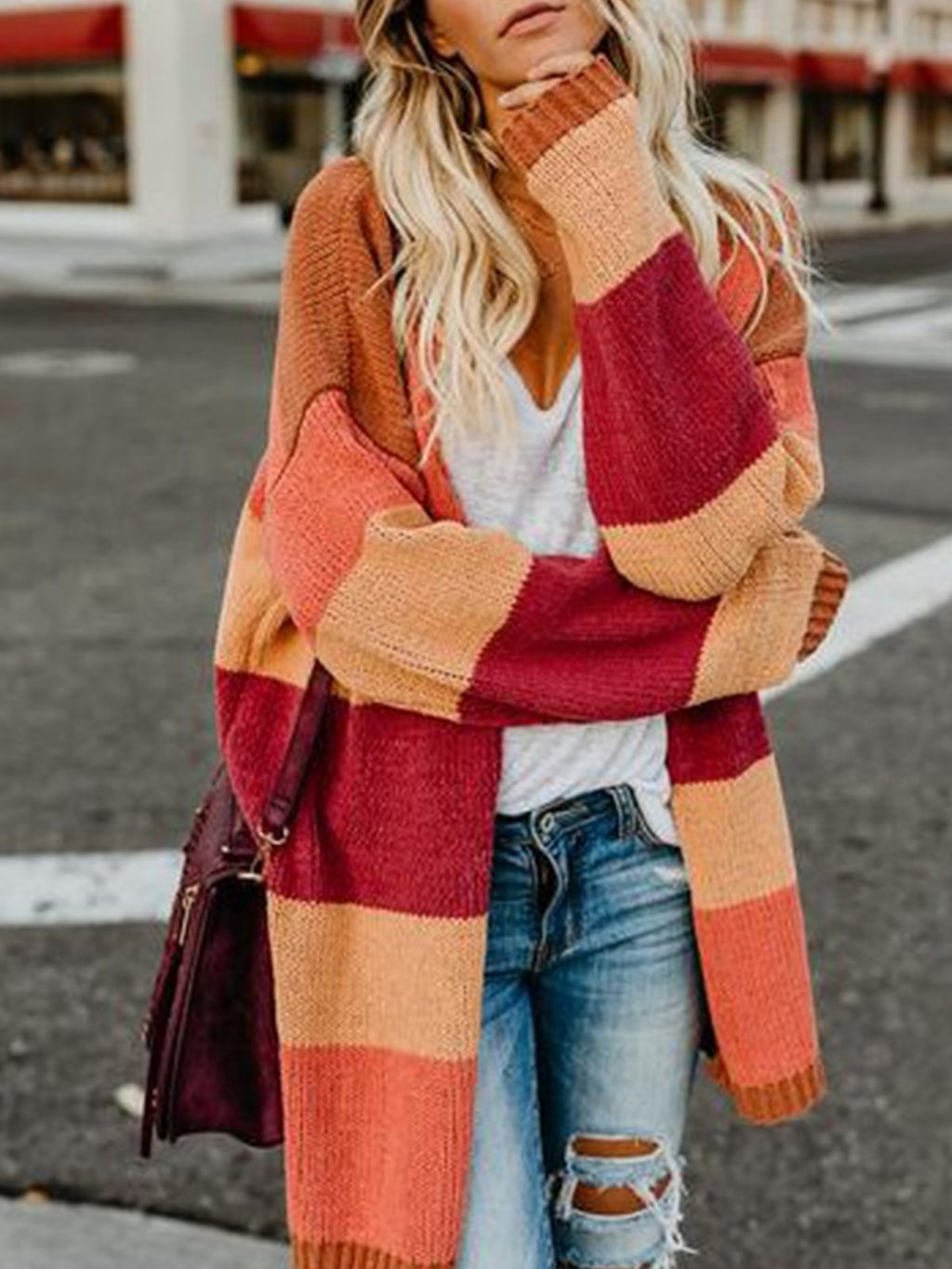 Stylish Stripe Knit Cardigan Coat