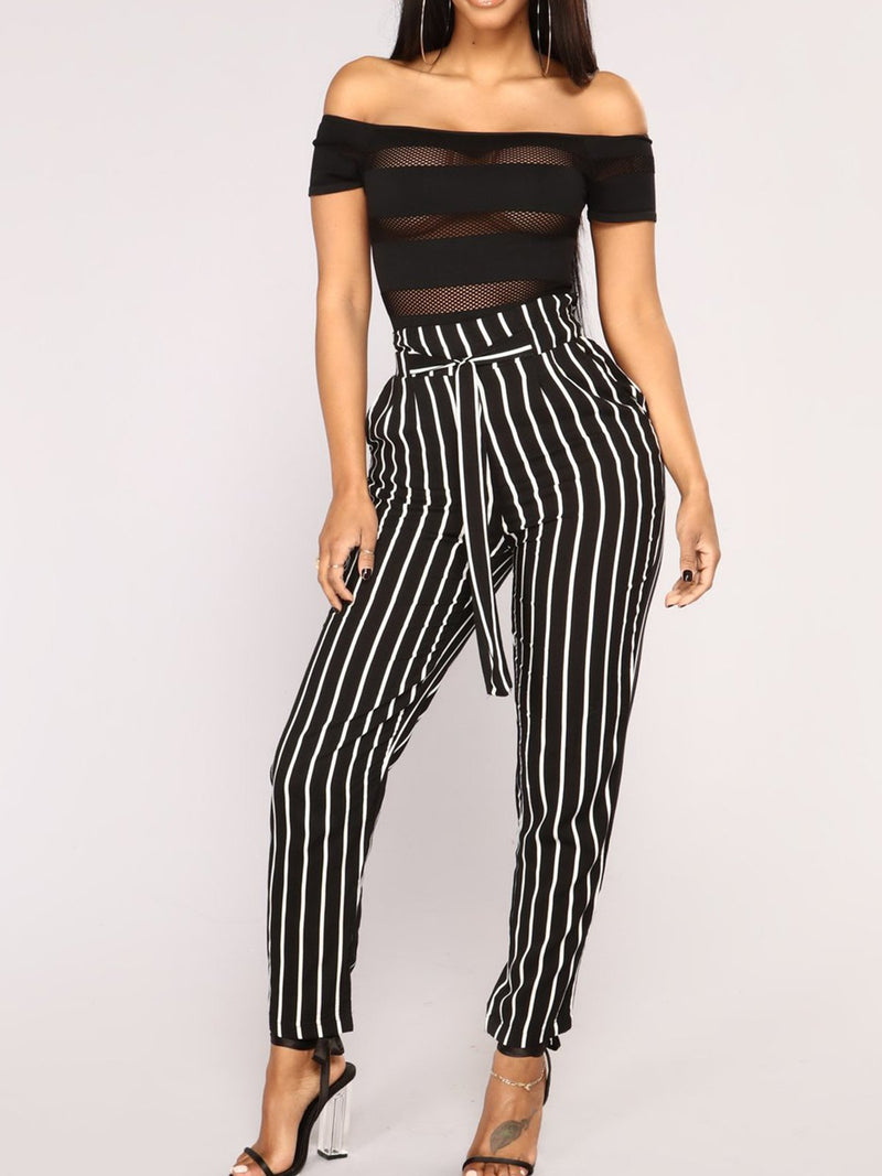 Casual Vacation Striped Cropped Pants