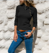Solid Color Long Sleeve Lapels Slim Button Blouse